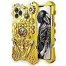 MQman メカニカルギア iPhone11promax ケース 背面パーツ 回転可能 手作り メタルカバースチームパンク抽象芸術 ゴシック風スカルデザイン (iphone11promax)