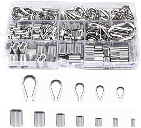Clips de Mangas De Aluminio, 265 Piezas Virolas de Aluminio, Manguito de Bucle de Aluminio, 304 dedales de acero inoxidable y mangas de aluminio para engarzar,para cable de cuerda