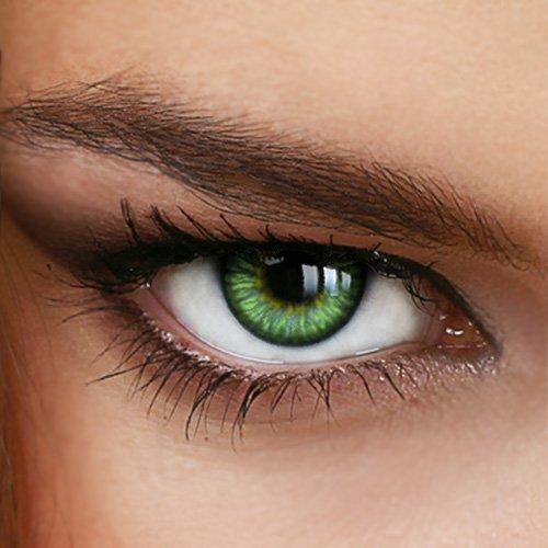 Farbige Jahres-Kontaktlinsen SUNNY GREEN - Ohne Stärke in GRÜN - intensiv/stark deckend - von LUXDELUX® - (+/- 0.00 DPT)