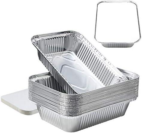 8 x6 x2 Aluminum Pans Foil Pans with Lids Aluminum Pans Disposable with Covers 20 Foil Rectangle product image