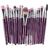 KOLIGHT Lot de 20 pinceaux de maquillage pour poudre, fond de teint, eyeliner, fard à paupières, pinceau à lèvres pour femme (violet + argent)