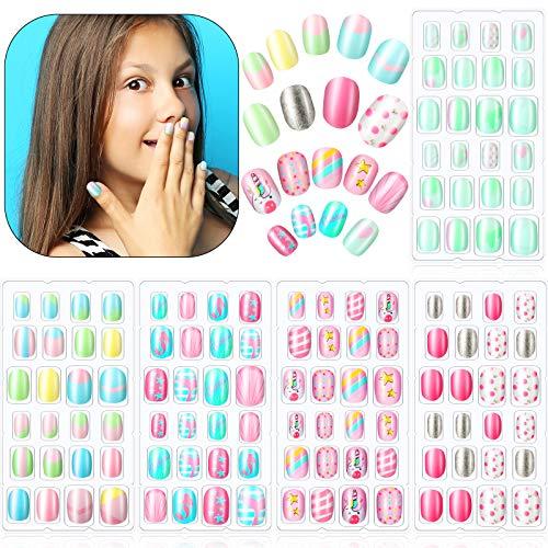 120 Stücke Mädchen Aufdrücken Nägel Gefälschte Nägel Künstliche Nagelspitzen Kinder Vollabdeckung Kurze Falsche Fingernägel für Mädchen Kinder Nagelkunst Dekoration (Schönes Muster)