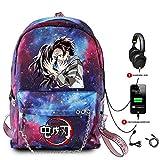 XFei Demon Slayer Anime Bookbag Unisex Fashion Gran Capacidad Casual Travel Bag con Puerto de Carga USB, Mochilas Escolares Mochilas Escolares Mochila Escolar Mochila Escolar