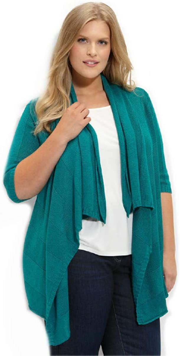 Eileen Fisher Linen Silk Turquoise Cardigan w/Pin 2X MSRP $298.00