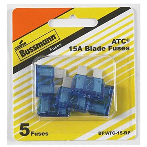 Bussmann BP/ATC-15-RP ATC Automotive Blade Fuse (15 Amp (Card)), 5 Pack
