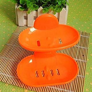 シンプルライフ、ライフアシスタント 2つのPCSの二重層の強い吸盤のSoapboxの石鹸の排水箱(白)、それは便利な設計のための家、旅行、オフィスのために完全です。 (色 : オレンジ)