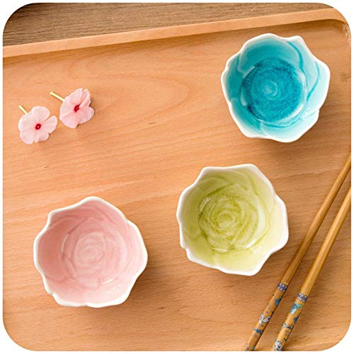 CYP RoseCeramic small PlatesDishesSeasoning DishIce Cracked GlazeSoy SauceVinegarTableware3 Color optional,Pink
