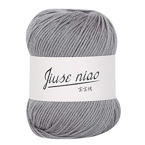 FeiliandaJJ 50g 13 Farben Wolle Zum Stricken & Häkeln Handstrickgarn,Hautpflege Kaschmir Milch Baumwolle,Einfarbig Super Weich Wolle Perfekt für Hüte Pullover Schal (C)