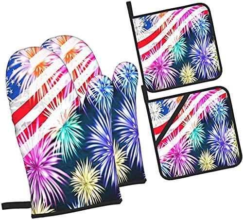 Manoplas y agarraderas patrióticas de la bandera americana, juego de 4 piezas, soporte profesional a prueba de agua para ollas y guantes para hornear