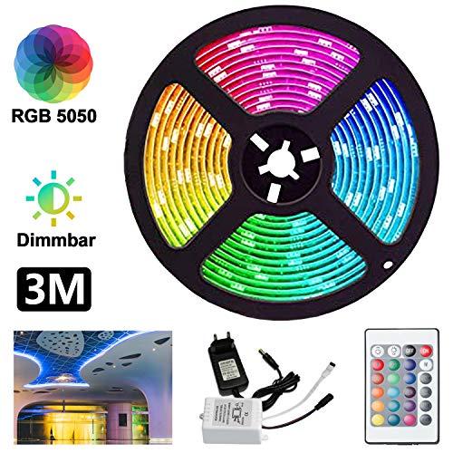 Hengda 3M 90LEDs Led Strip, LED Streifen RGB SMD 5050 LED Band, 24-Tasten IR Fernbedienung und 12V Netzteil, LED Leiste, LED Lichterkette, Dekoration für Zuhause, Küche, Weihnachten