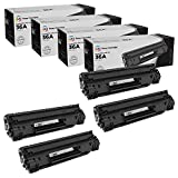 LD Compatible Toner Cartridge Replacement for HP 36A CB436A (Black, 4-Pack)