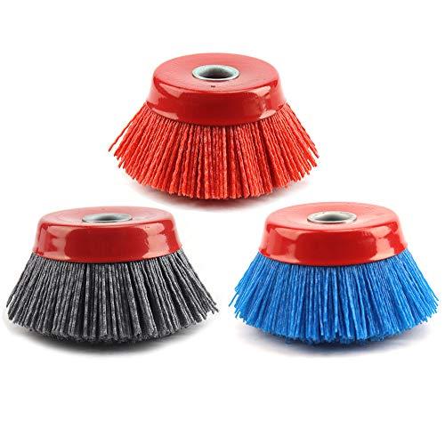 3Pcs 4'' x 5/8'' Nylon Filament Wheels Cup Brush Set for Angle Grinder,Include Grit 80 120 240,Nylon Drill Brush Kit for Removal Rust Corrosion Paint (3Pcs Set)