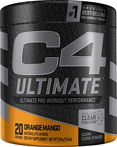 C4 Ultimate Pre Workout Powder Orange Mango | Sugar Free Preworkout Energy Supplement for Men & Women | 300mg Caffeine + 3.2g Beta Alanine + 2 Patented Creatines | 20 Servings