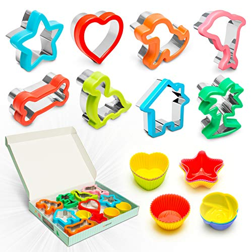 Sandwich Cutters for Kids - 8 Fun Shapes Plus Reusable Silicone Cupcake Cups - Cookie Cutter Set for Toddler Food - Shape Cutter for Bread, Lunch & Snacks - Dinosaur, Heart & 6 More Children Designs