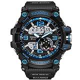 QZPM Relojes Deportivos para Hombre, Resistente Al Agua Digital Militares Relojes con Cuenta Atrás para Los Hombres Niños Grandes,LED De Analógico Relojes De Pulsera para Hombre,Black Blue