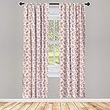 ABAKUHAUS Tejido de Punto Juego de 2 Paños Cortinas, Bolas de Color Rosa de Hilo de Coser, Tratamiento de Ventana para Habitación y Dormitorio, 150 cm x 175 cm, Gris y del Coral