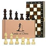 Scacchiera Magnetica in Legno Professionale Scacchi - Chess, Scacchiere magnetici Set Portatile Gioco da Viaggio per Adulti Bambini 27 cm