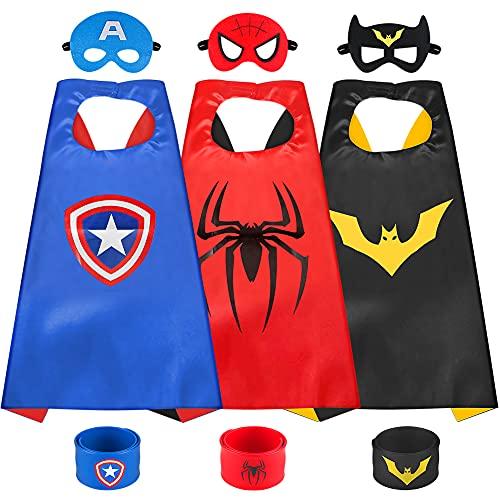 Sinoeem Capa de Superhéroe para Niños - 3 Capa y 3 Máscaras y 3 Slap Pulseras - Ideas Kit de Valor de Cosplay de Diseño de Fiesta de Cumpleaños de Navidad - Juguetes para Niños y Niñas (A)