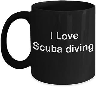 أنا أحب سكوبا الغوص القهوة الأسود القدح - الخزف الأسود مضحك القهوة القدح ، أفضل مكتب الشاي وكأس القهوة الهدايا 11 أوقية