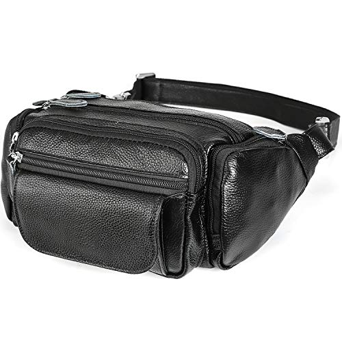 TIDING Full Grain Leather Bum Bags with Adjustable Buckle Strap for Men Women Bag Waist...