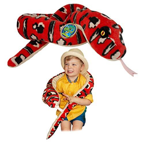 EcoBuddiez Sssnakes - Pitón arborícola Verde de Deluxebase. Serpiente Peluche de 140cm. Peluches Grandes y Suaves Hechos de Botellas de plástico Reciclado. Perfecto Regalo ecológico para niños.