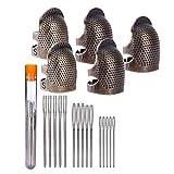Dedo Protector Pin Agujas,Jicyor 5pcs 2 Tamaños Ajustable Bronce Dedal de Cobre Meta + 15pcs Plata Acero Large-eye...