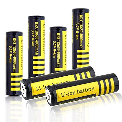 18650 Batería Recargable de Iones de Litio 3.7V 4000mah Baterías de botón de Gran Capacidad para Linterna LED, iluminación de Emergencia, Dispositivos electrónicos, etc (6 Piezas)