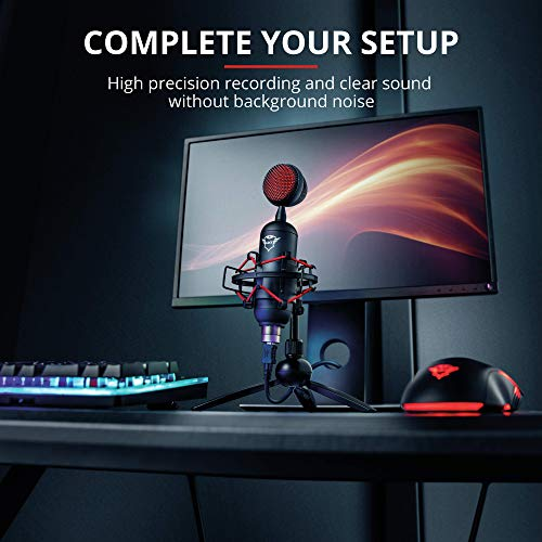 Trust Gaming GXT 244 Buzz USB Gaming Mikrofon für PC, PS4 und PS5 (mit Ständer, Kondersator, für Streaming, Podcast) - schwarz