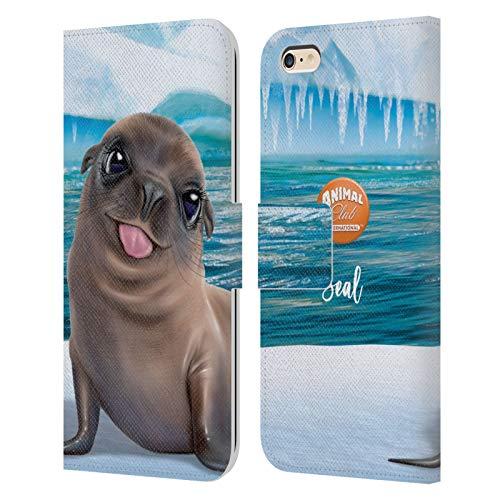 Head Case Designs Licenciado Oficialmente Animal Club International Seal Underwater Carcasa de Cuero Tipo Libro Compatible con Apple iPhone 6 Plus/iPhone 6s Plus