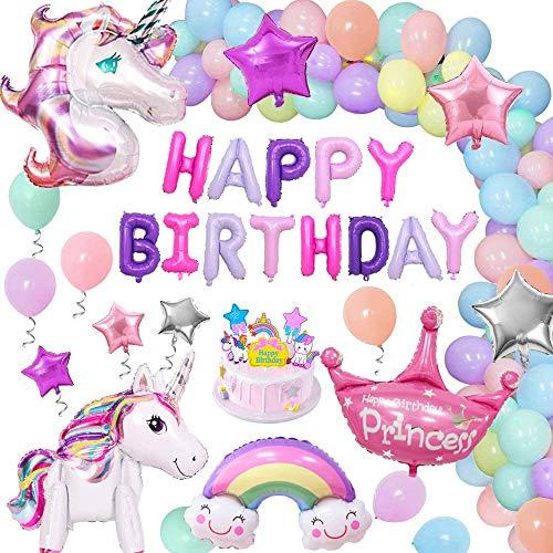Einhorn Geburtstag Dekorationen Mädchen, 2 riesige Folie Einhorn Luftballons mit Einhorn Kuchen Topper Geburtstag Banner Krone Star Regenbogen Macaron Luftballons, Geburtstagsfeierzubehör für Kinder