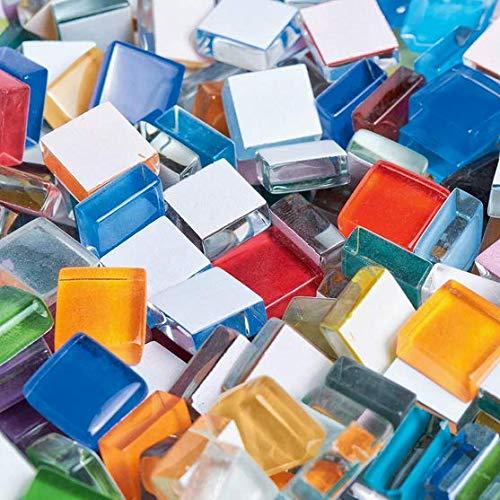 THETHO 500g Piedras de Mosaico de Vidrio, 1x1cm, mosaicos Cabujones de Vidrio, Mosaico de Vidrio para Manualidades, Mezcla de Colores, Piedras de Mosaico de Vidrio, Cuadrado, no translúcido