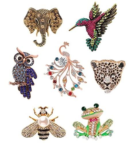 Juego de 7 broches de cristal para mujeres y hombres antiguos, forma de animal, coloridos diamantes de imitación, disfraz mítico novedad pin broche regalos