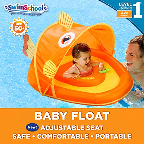 SwimSchool Gold-E-Fish Fabric Baby Boat, Splash and Play, Adjustable Safety Seat, Extra-Wide Inflatable Pool Float, Retractable Canopy, UPF 50, 6 to 24 Months, Orange