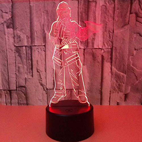 Veilleuses 3D Illusion LED Pompier lampe capteur tactile USB Charge Chambre multi-couleur chevet décorative acrylique Lampe de bureau Enfants Nouveauté Cadeaux Fête anniversaire