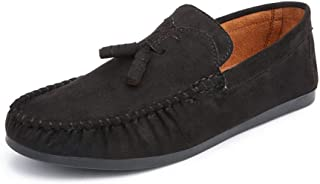Xujw-shoes, Suede Loafers Men Casual Driving Loafers for Men Plain Color Walking Moccasins Boat Shoes Slip On Faux Suede Leather Vamp Decor with Ropes Fashionable