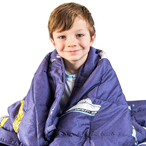 Luna Kids Weighted Blanket - Individual Use - 5 Lbs - 36x48 - Child Size Bed - 100% Oeko-Tex Cooling Cotton & Glass Beads - USA Designed - Heavy Cool Weight - Blue Boat Print