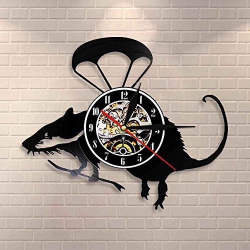 Regalos para Hombres Banksy Rat Wall Art Flying Helicopter Rat Vinilo Disco Reloj de Pared Lindo Paracaidista Ratón Reloj de Pared Decorativo Decoración del hogar Reloj