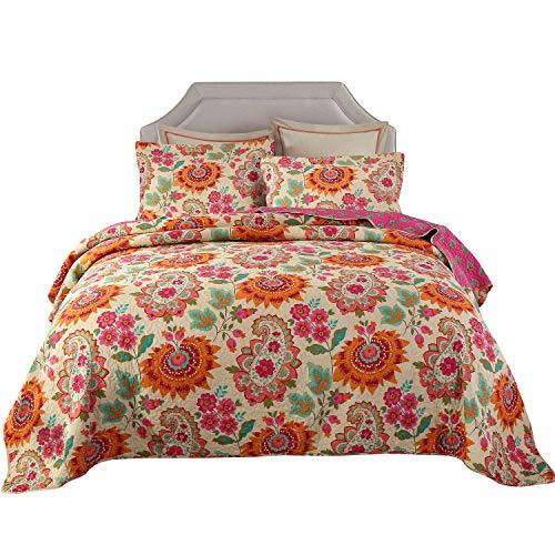 Qucover Tagesdecke Baumwolle 230x250 cm Bettüberwurf 220x240 Doppelbett Sofa Überwurf mit Paisley Sonnenblume Muster Gesteppte Decke in Vintage Stil