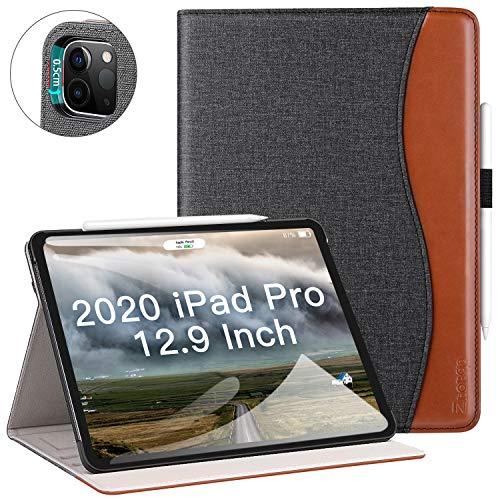 """ZtotopCase Hülle für Neu iPad Pro 12.9 2020(iPad 4. Generation),Premium Leder Leichte Geschäftshülle mit elastischer Stifthalter,Mehrfachwinkel,Kartensteckplatz,für iPad 12.9\"""" 2020, Denim Schwarz"""