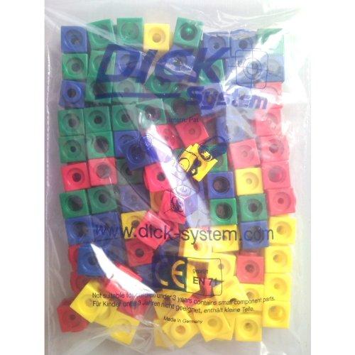 100 Steckwürfel 4-farbig (rot, gelb, grün, blau), 1,7cm, allseitig steckbar