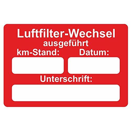 Lot de 250 autocollants de service pour voiture 60 x 40 mm - Luftfilter-Wechsel