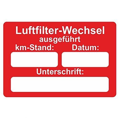 KFZ Serviceaufkleber / Inspektionsaufkleber 60 x 40 mm - 250 Stück - verschiedene Varianten (Luftfilter-Wechsel)
