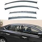 PLDDE 4pcs Smoke Tint With Chrome Trim Outside Mount Tape On/Clip On Style PVC Sun Rain Guard Window Visors Fit 13-18 Nissan Altima 4-Door Sedan