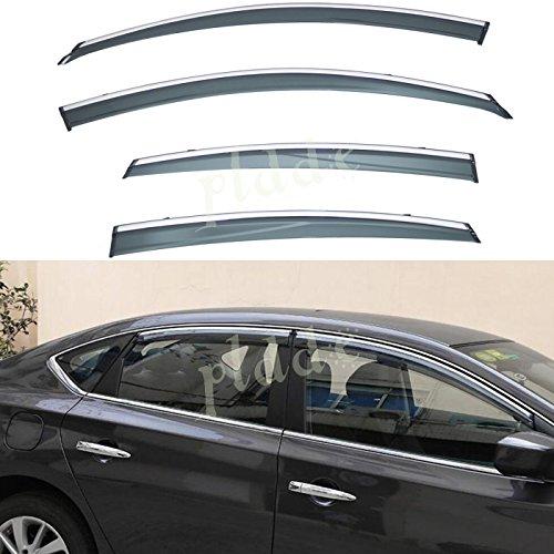 PLDDE 4 pcs For 03-08 Honda Pilot Front+Rear Sun//Rain Guard Outside Mount Window Visors