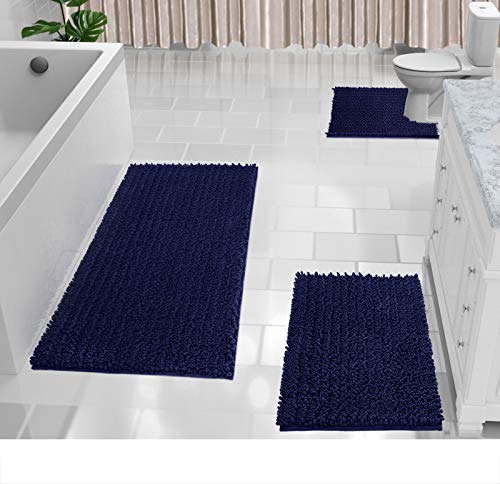 Yimobra Chenille Bath Rug Sets of 3, Extra Large Bathroom Rugs 44.1x24 + Shaggy Rugs for Bath Room 31.5x19.8 + Rug Toilet Floor 24.4x20.4, Soft, Water Absorbent, Non-Slip, Machine Washable, Navy Blue