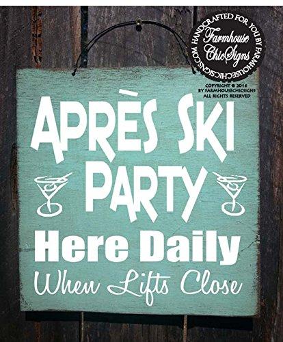 Queen54ferna Skifahren Hütte Winter Apres Skiparty Schild, Apres Ski-Dekoration, Winterdekoration, Berg-Lifestyle