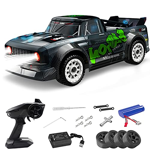 Dollox Remote Control Car RC High Speed Cars, 1/16 2.4G 4WD RC Drift Racing Car 4X4 Off-Road Truck Fast 20MPH Buggy Speed & Steering Control Electric Vehicle Toy with Lights for Kids and Adults