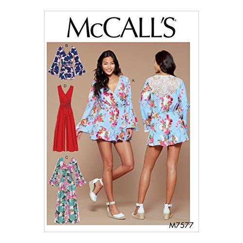McCall 's Patterns Schnittmuster Strampler/Overall und Gürtel, Mehrfarbig, Größe 14–22