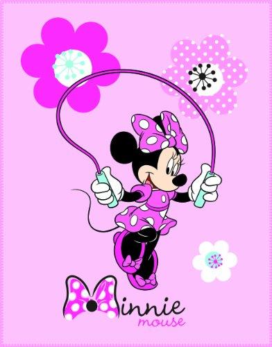 CTI 040869 Fleece Decke Disney Minnie Pink Flowers, 110 x 140 cm