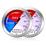 NEWSTART BBQ Thermometer Gauge - 2 Pcs Charcoal Grill Pit Smoker Temp Gauge Grill Thermometer with Fahrenheit and Heat Indicator